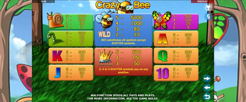 Crazy Bee - symbols